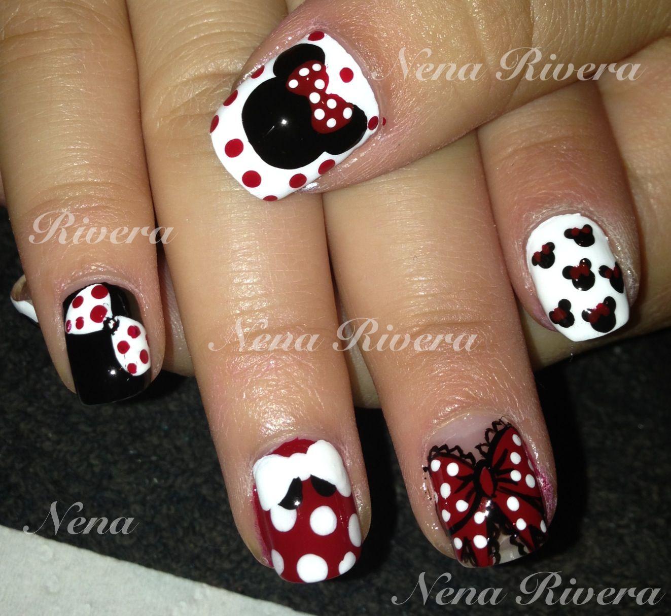 Minnie Mouse Nail Art | Nails :) | Pinterest | Ponerse y Cosas