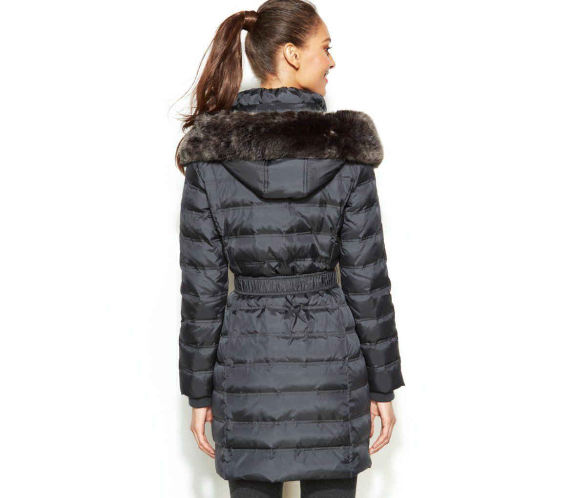 Dkny Hooded Faux Fur Trim Belted Down Puffer Coat Coats Women Macy S Hooded Faux Down Puffer Coat Puffer Coat [ 1020 x 1200 Pixel ]