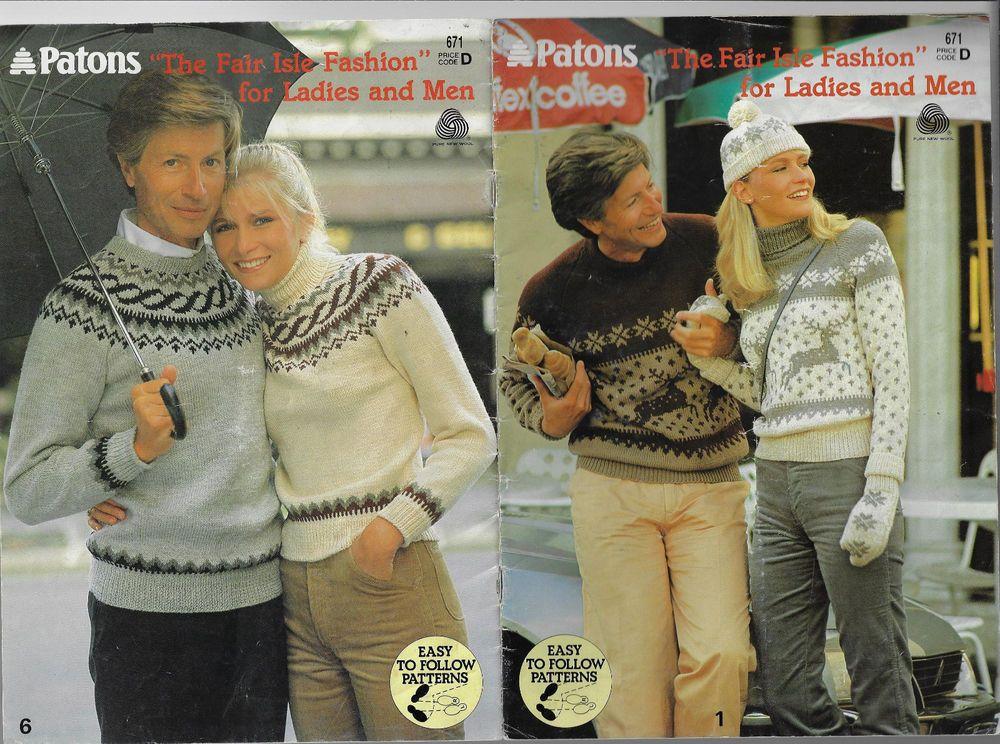 Fairisle Knits For Men Women Patons 671 Vintage Knitting Pattern 8