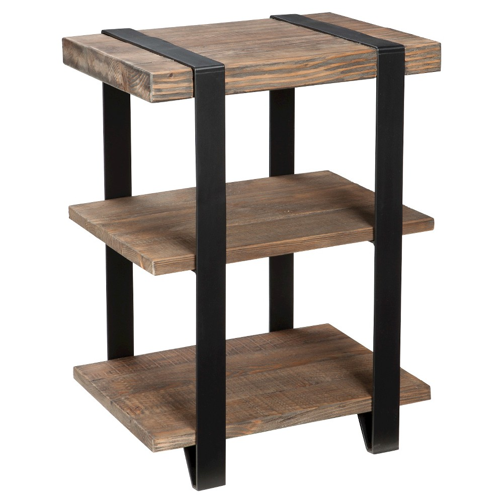 Modesto 2 Shelf Metal Strap And Reclaimed Wood End Table Rustic Natural Alaterre