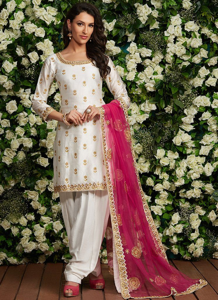 36f2708ea1 White and Hot Pink Embroidered Punjabi Suit in 2019 | Punjabi Suits ...