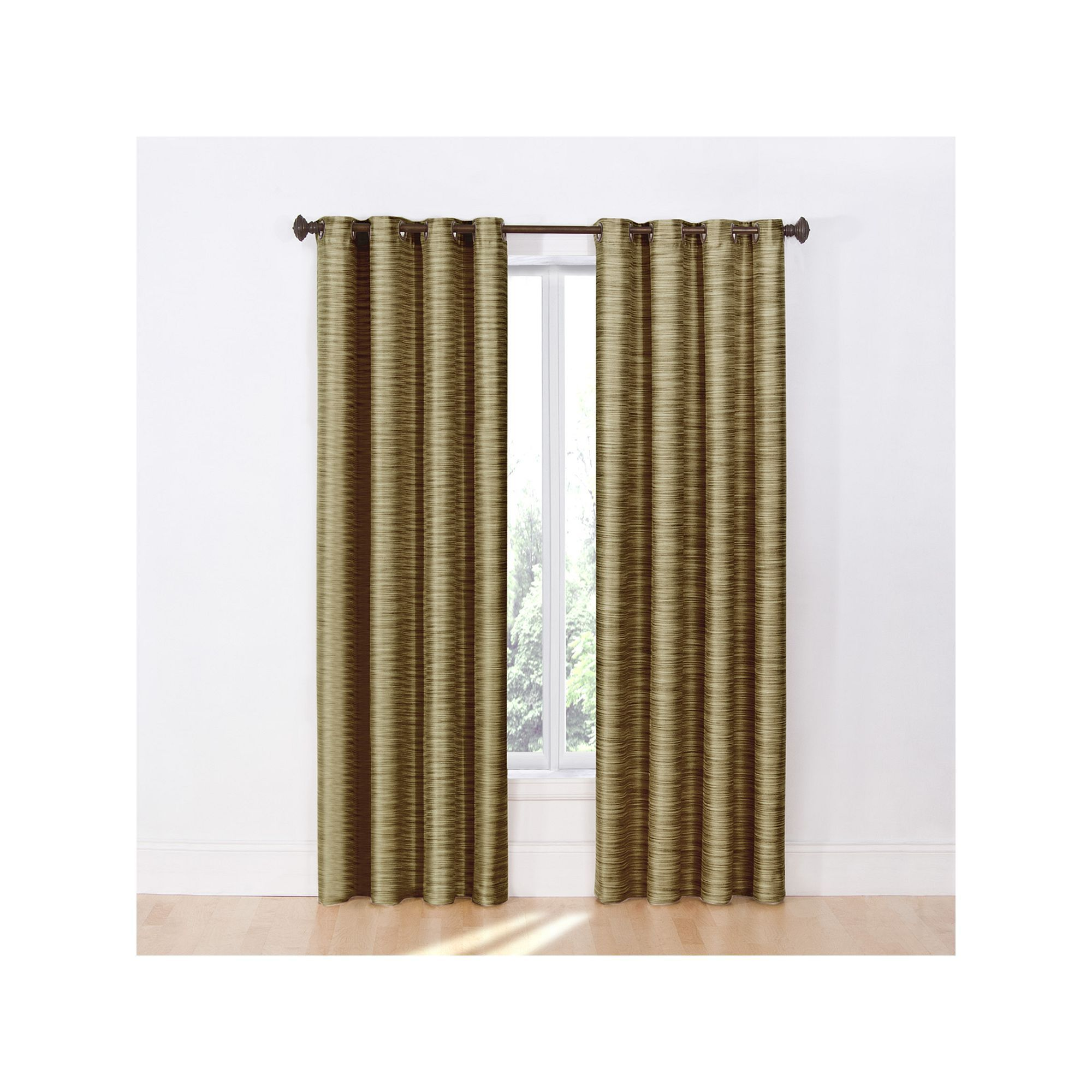 Eyebrow window coverings  eclipse dylan thermalayer blackout window curtain brown  thermal