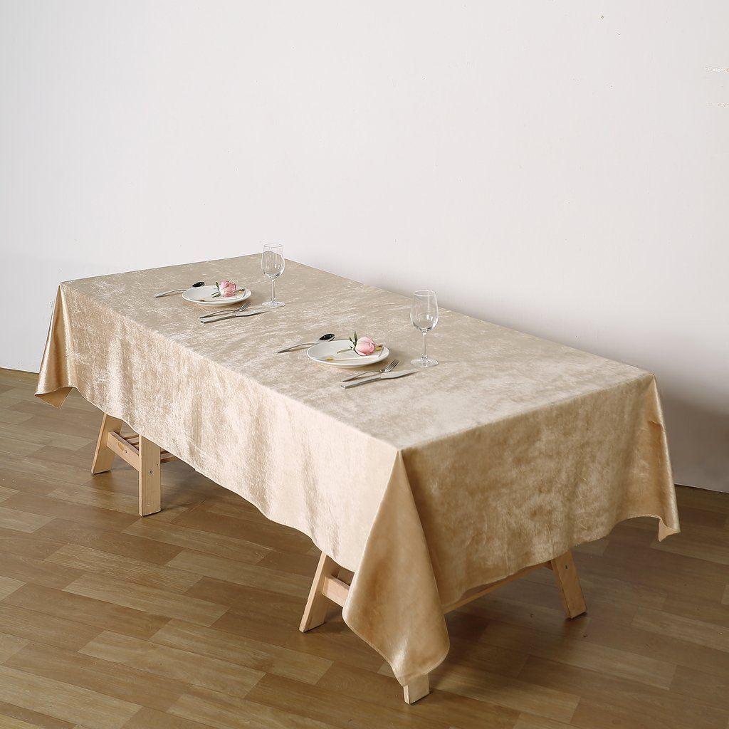 60 X 102 Champagne Premium Velvet Rectangle Tablecloth With Images Rectangle Tablecloth Table Cloth Tablecloth Sizes