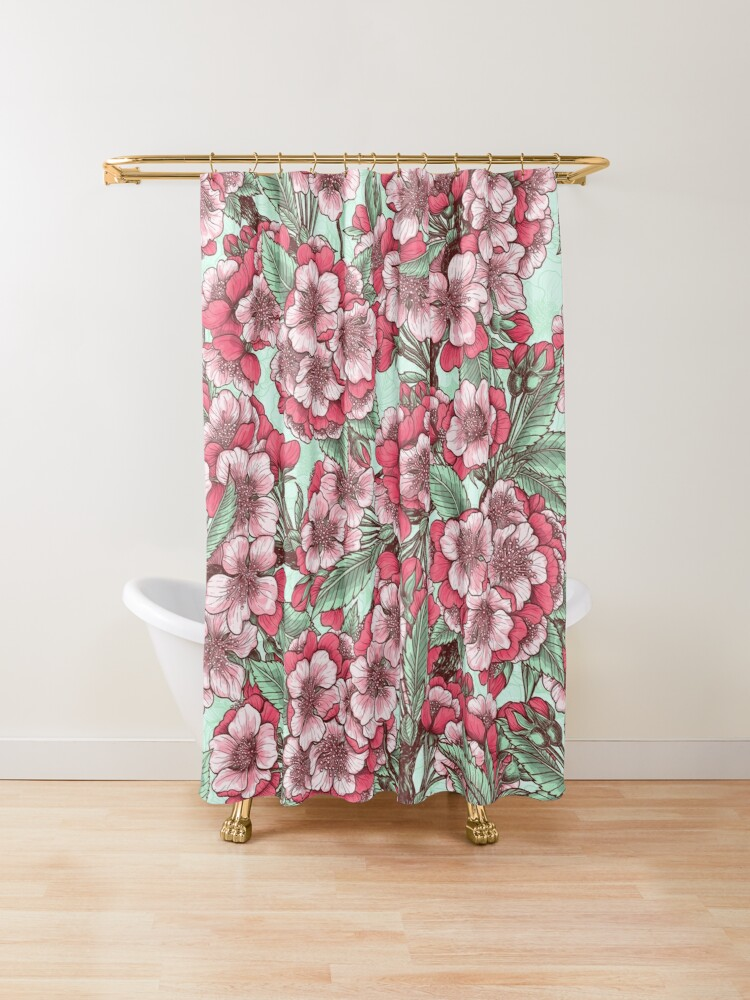 Cherry Blossom Shower Curtain By Katerina Kirilova In 2020 Unique Shower Curtain Bathroom Decor Designer Shower Curtains