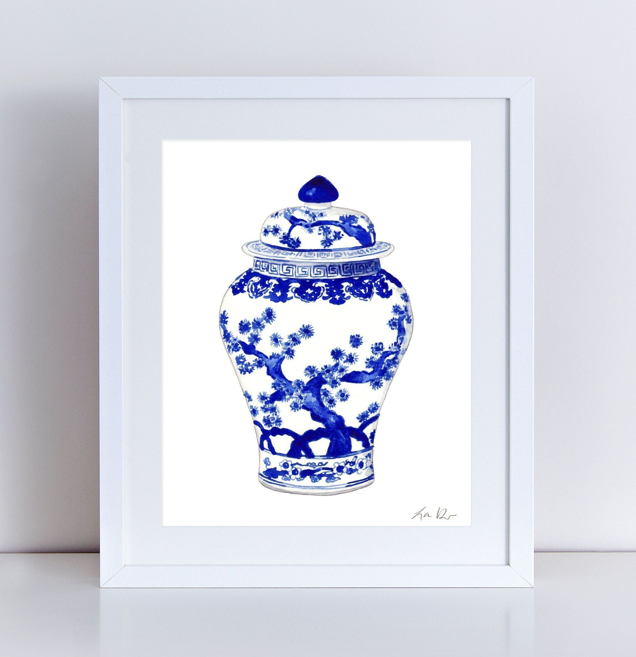 blue and white china art ginger jar print 10 asian wall decor