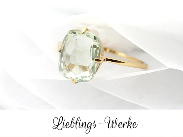Deluxe: Prasiolith-Ring Silber vergoldet   Schleifen, Edelstein ...