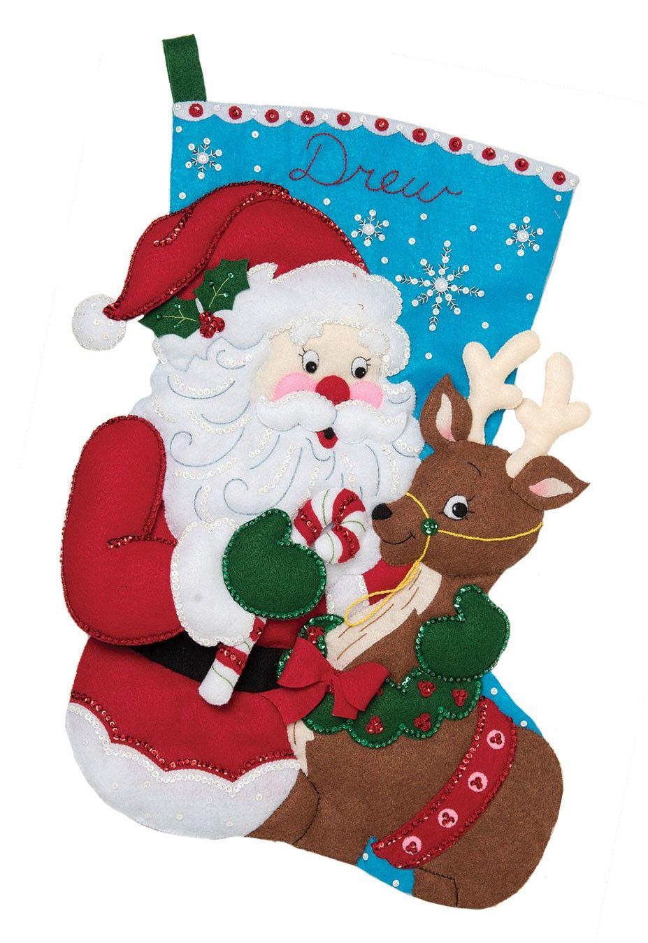 Santa and Reindeer JUMBO Bucilla Christmas Stocking Kit 28 ...