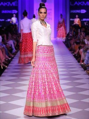 Silver Wedding Bridal Lehenga With Pink Contrast