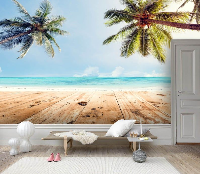 3d Beach Coconut Tree Wallpaper Removable Self Adhesive