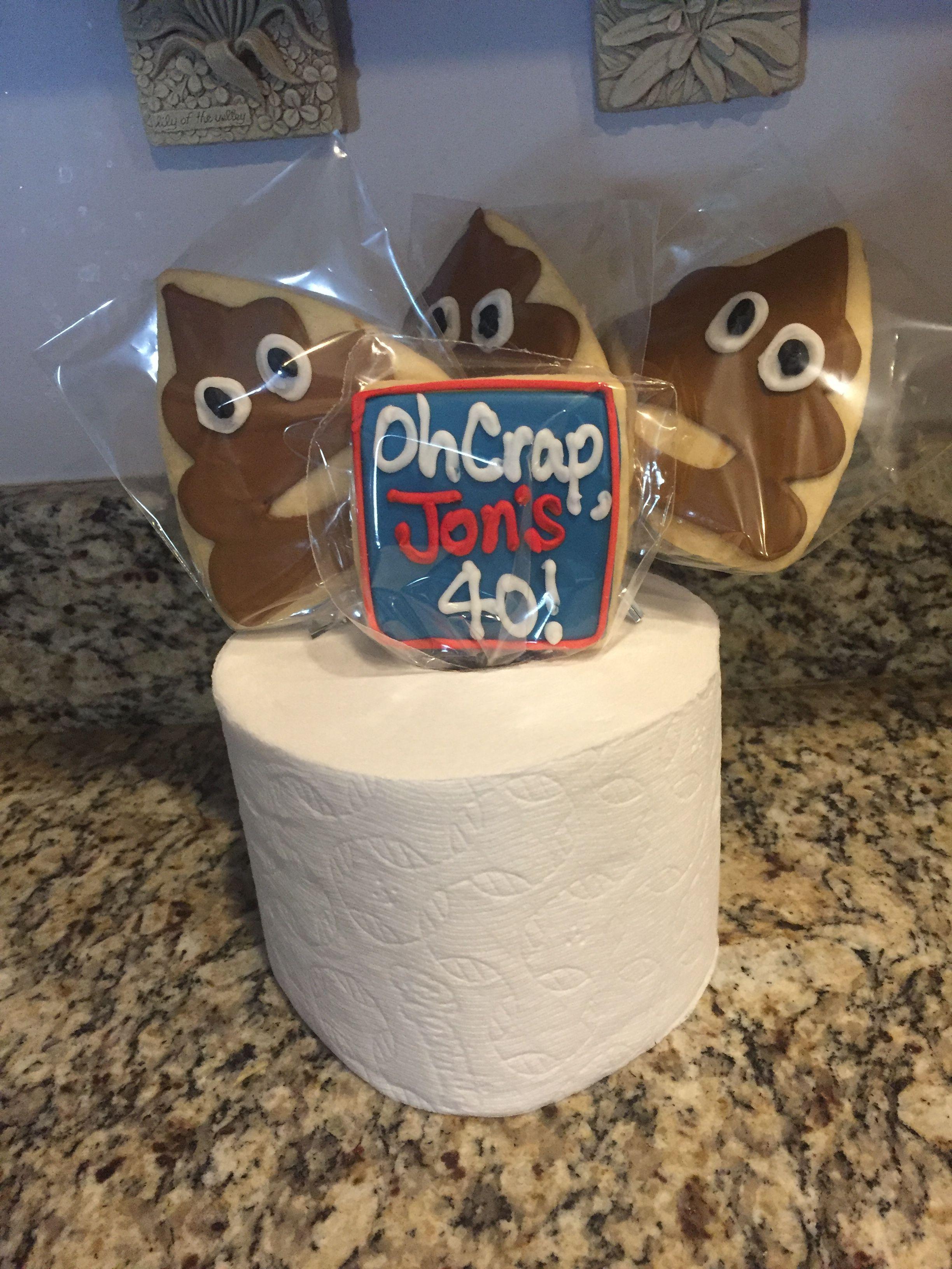 40th Birthday Poop Emoji Sugar Cookies
