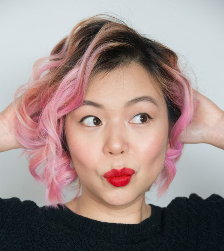 Diy bleaching dyeing your hair pink black hair dye