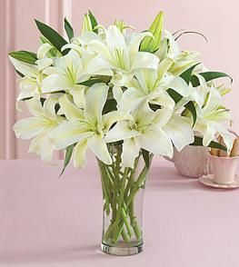 White Lilies Vase Bouquet Side Table Arrangements Selections Oriental Lilies Bouquet Oriental Lily Easter Lily