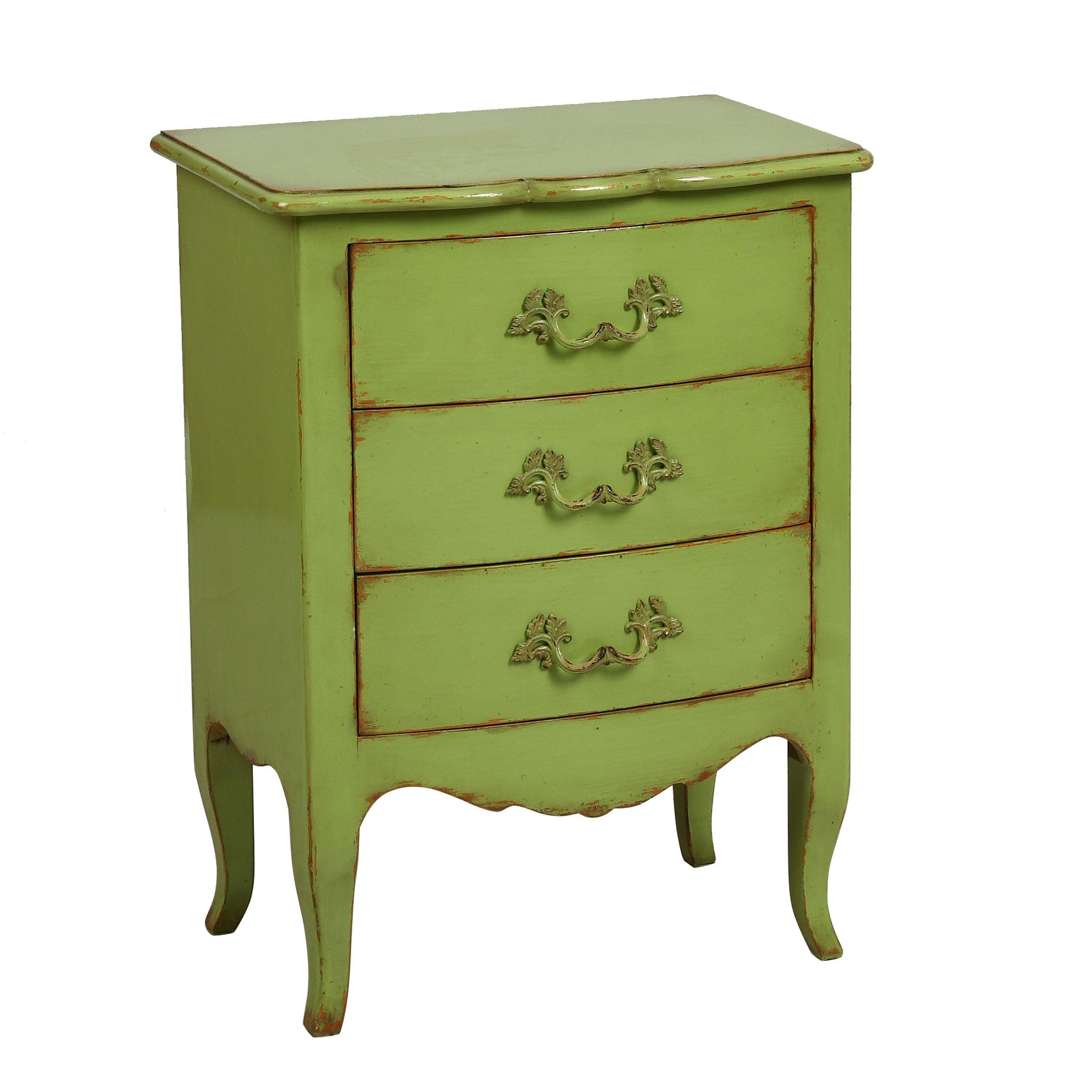 Petit meuble baroque en bois vert Tivoli