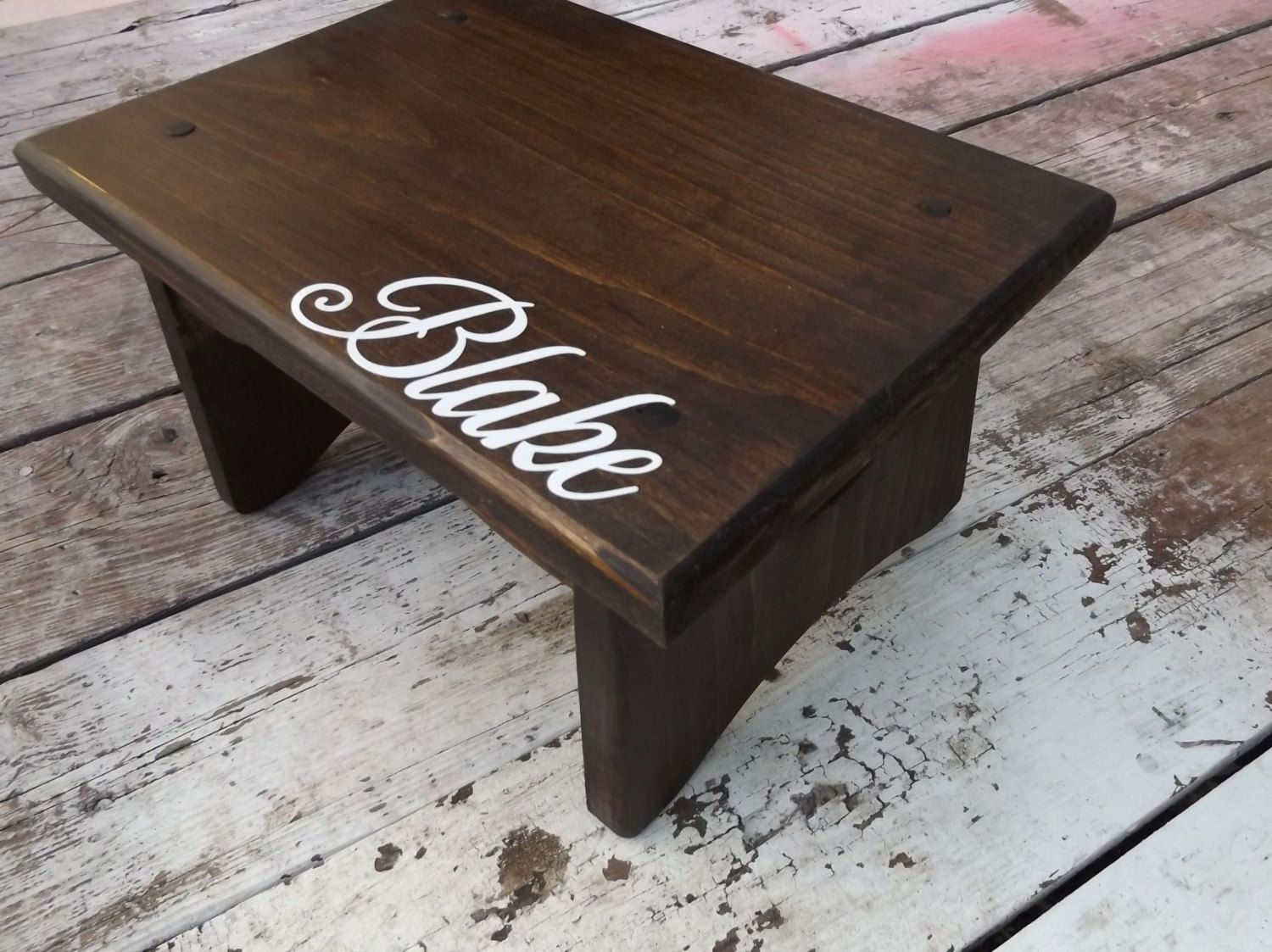 Child Wooden Personalized Step Stool / Walnut Stain all over shown / with choice of vinyl & Child Wooden Personalized Step Stool / Walnut Stain all over shown ... islam-shia.org