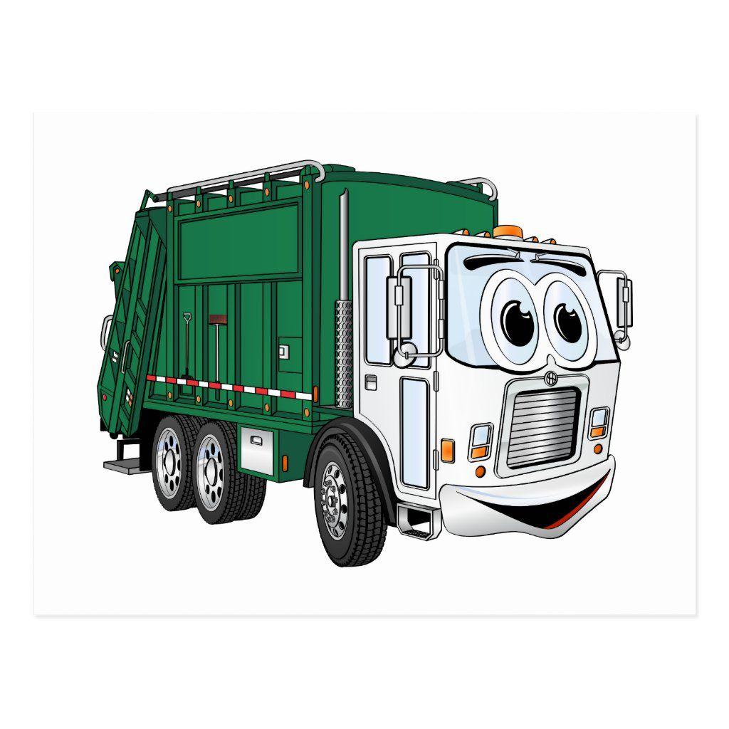 Green White Smiling Garbage Truck Cartoon Postcard Zazzle Com In 2021 Garbage Truck Trash Hauling Trucks