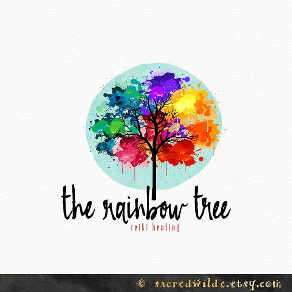 Rainbow Tree Logo Design Watercolor Rainbow By Sacredwilde Tree
