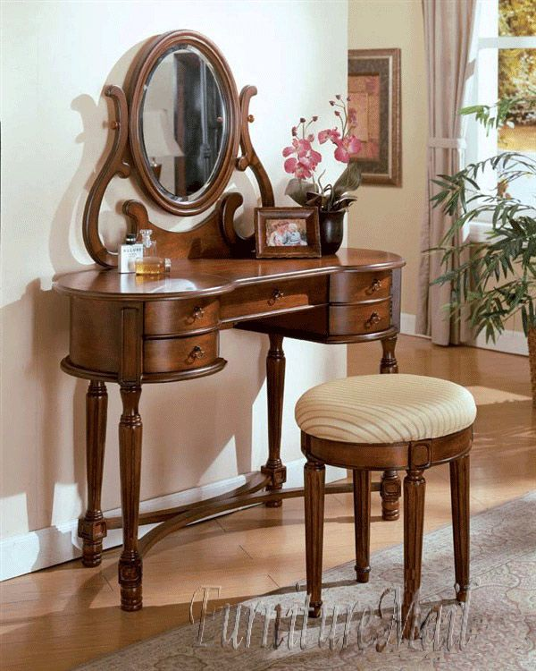 Antique Makeup Table Dresser Vanity Set W Drawers Mirror Bench