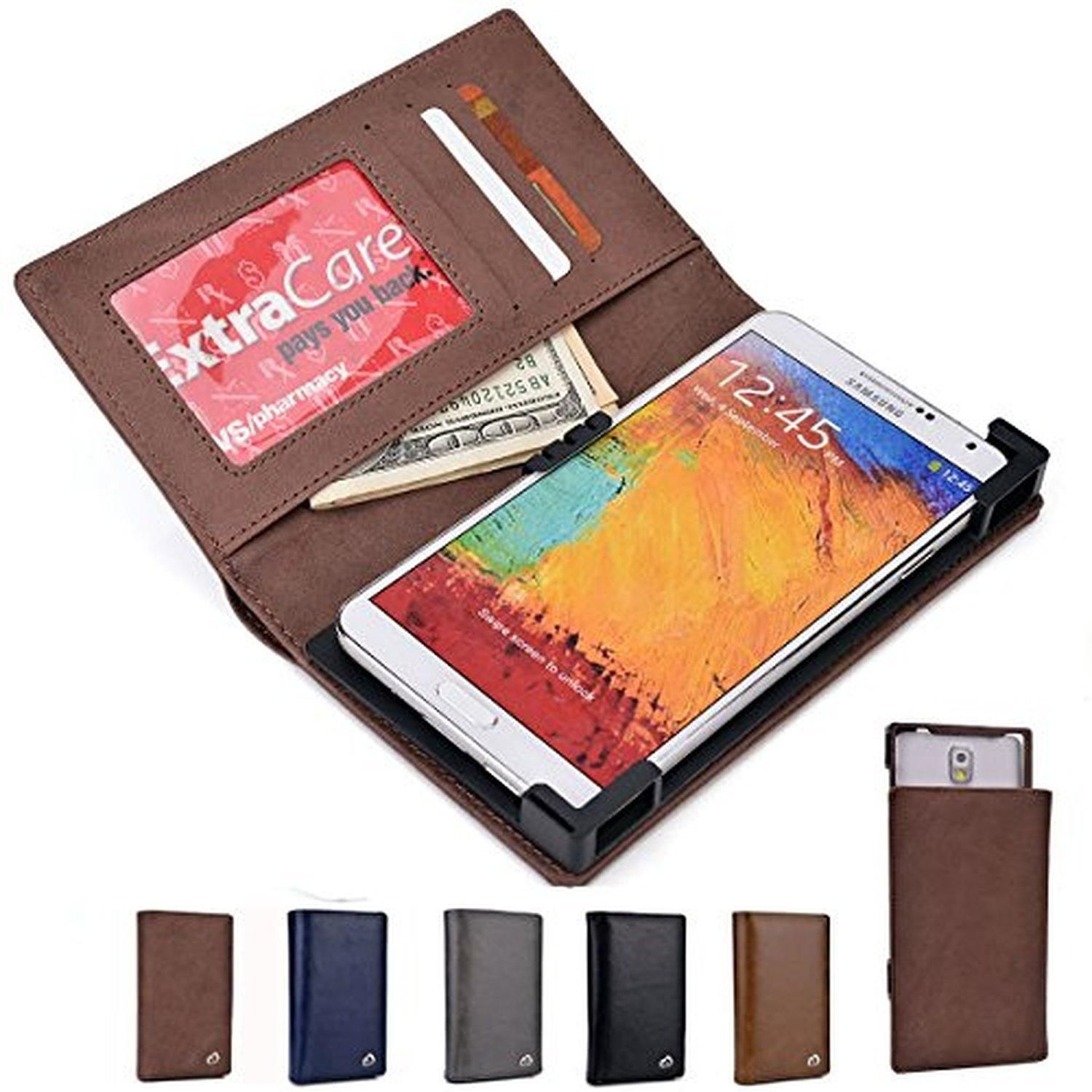 Kroo Mocha Genuine Leather BiFold Wallet with Universal Phone Holder for Lenovo A850+, A916, Golden Warrior S8, K80, P90, S856, S90 Sisley, Vibe X S960, Vibe X2 Pro, Vibe Z2 - Brought to you by Avarsha.com