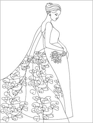 Coloring Fashion - from my ebook Floral Fashion http://www.coloring ...