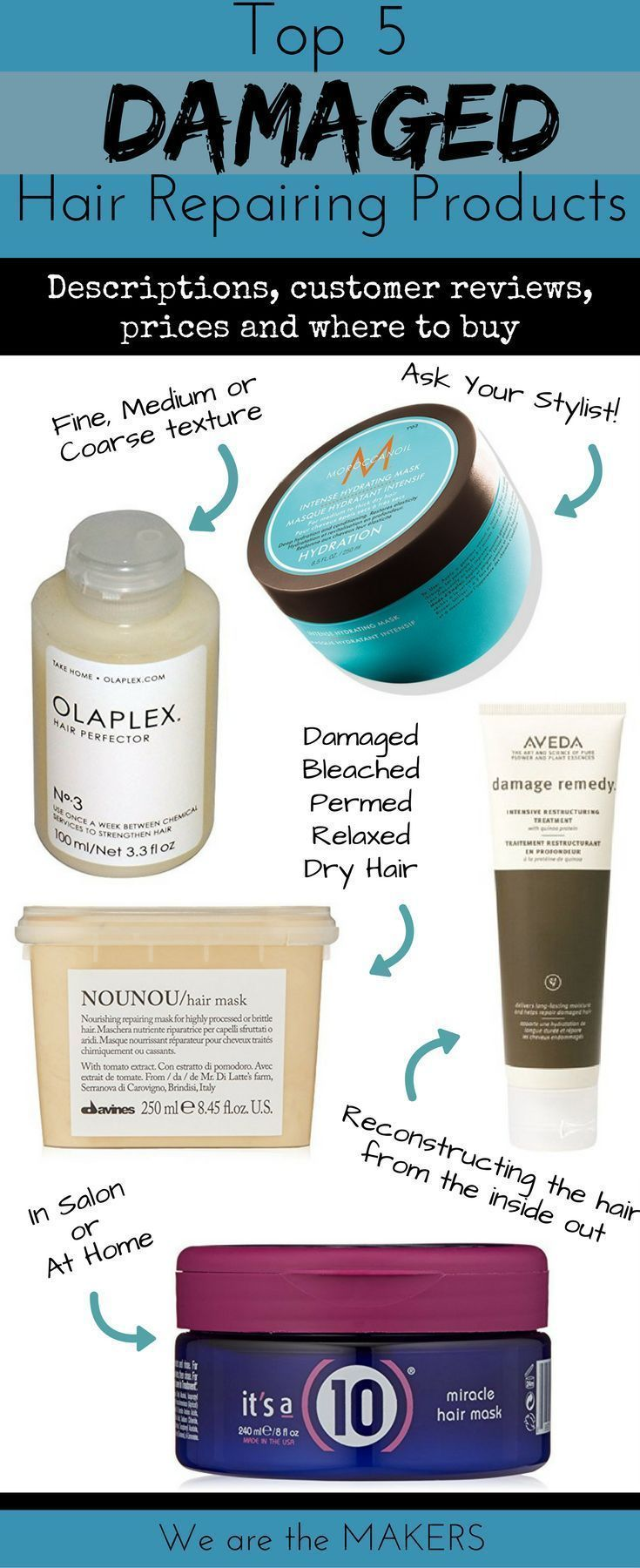 Top 5 Products for Damaged Hair Repair #hairstuff