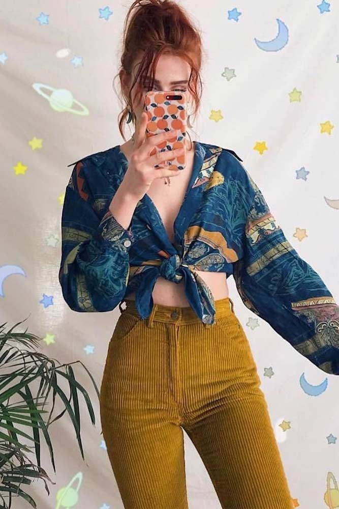 Printed Blouse Fashion Trend #blouse #velvettrousers ★ 80s Fashion trends for ...