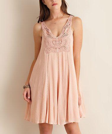 Another great find on #zulily! Peach Blush Crochet-Accent Sleeveless Dress #zulilyfinds