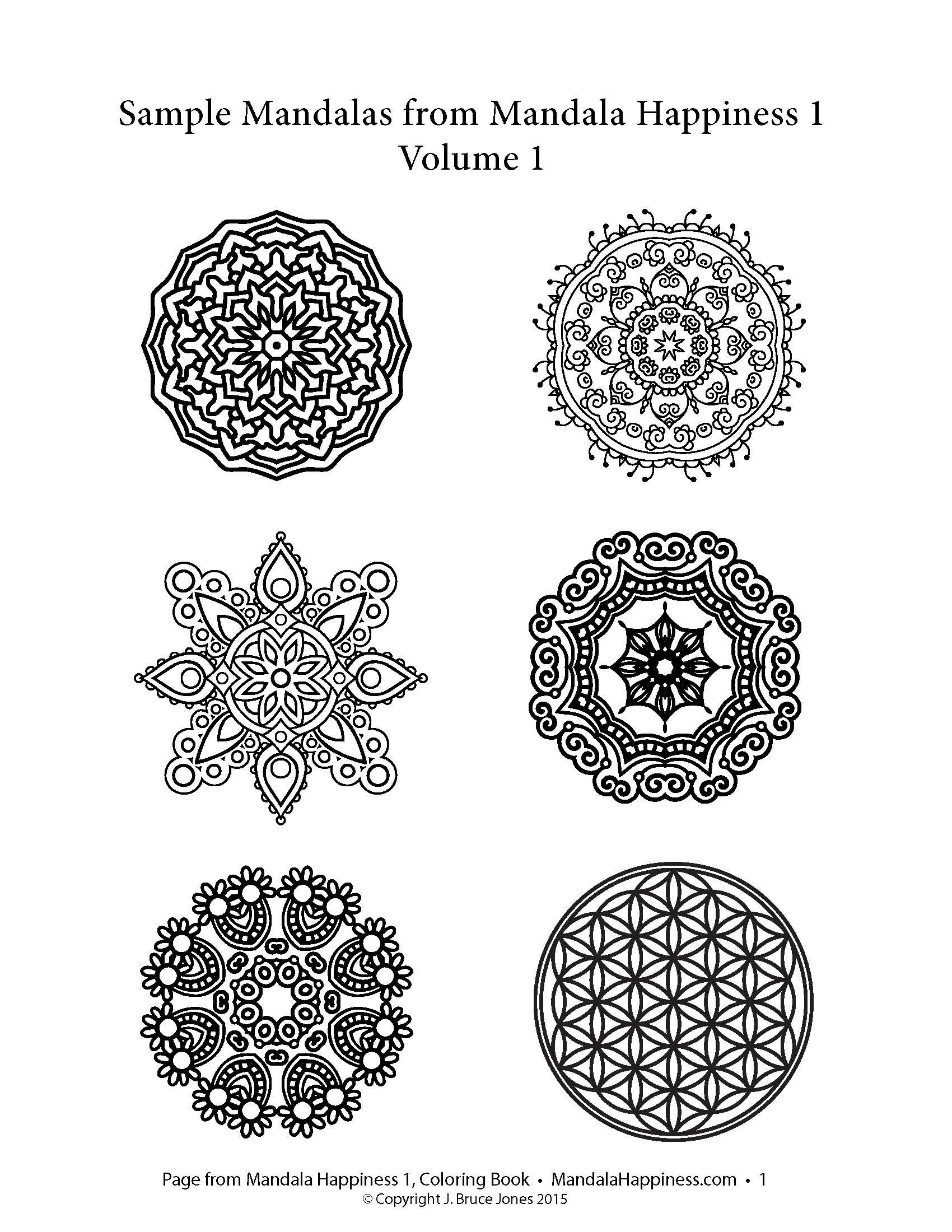 Sample Mandalas From Mandala Happiness 1 First Book In The Coloring Series