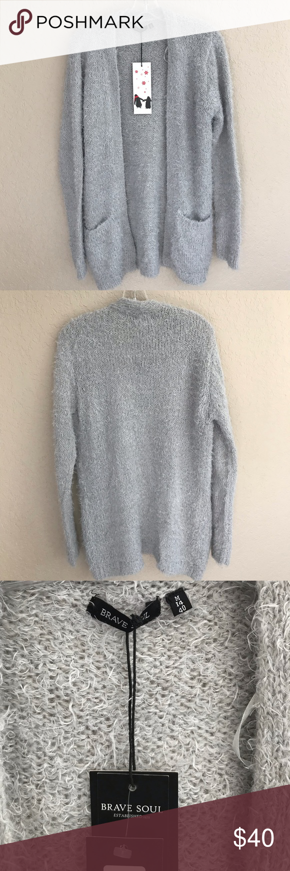 3b64e09a94b Long Gray Fuzzy Cardigan Sweater Soft and comfortable long cardigan ...