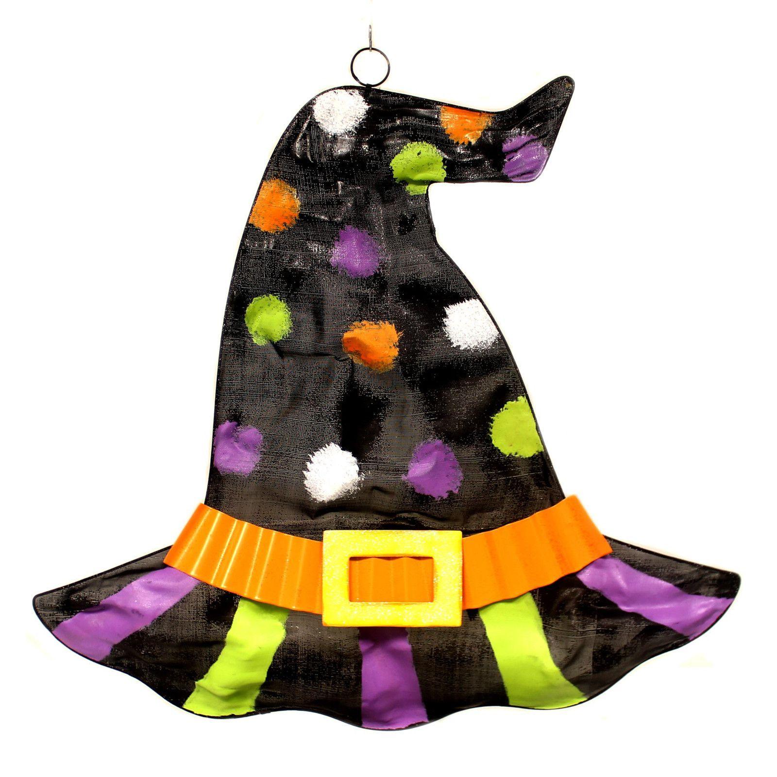 Halloween WITCH HAT WALL HANGING Metal Buckle 1651273 Dots - door decoration halloween