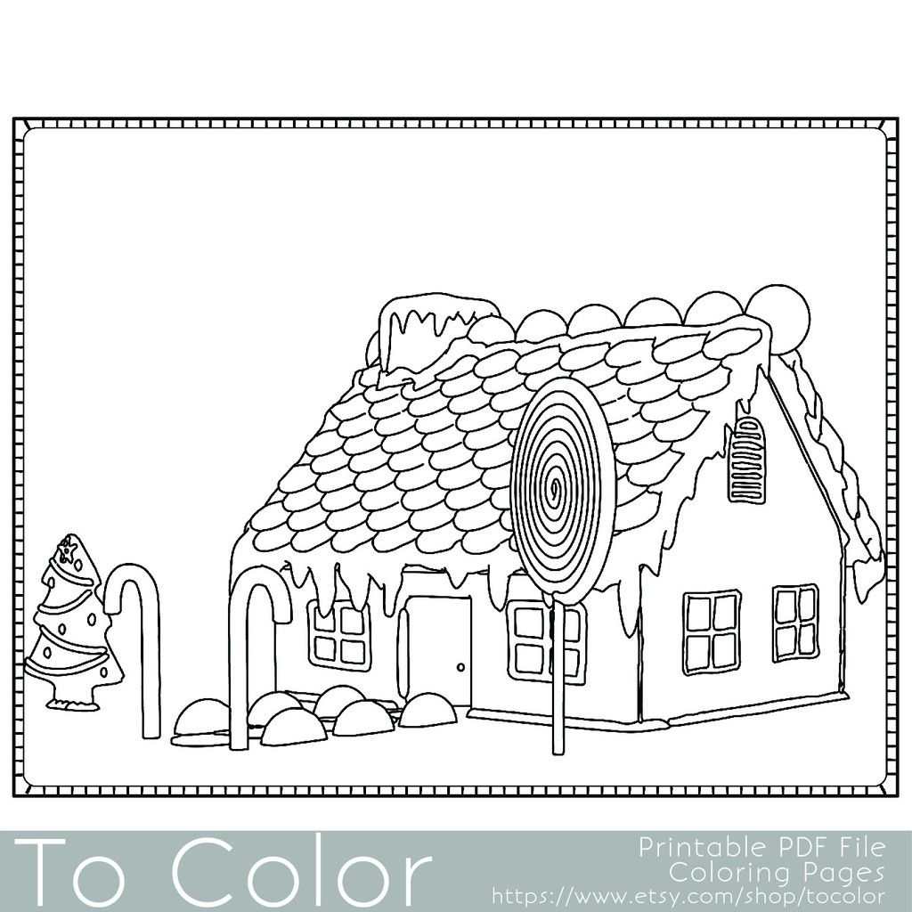 Holiday Christmas Gingerbread House 2 Coloring Page For