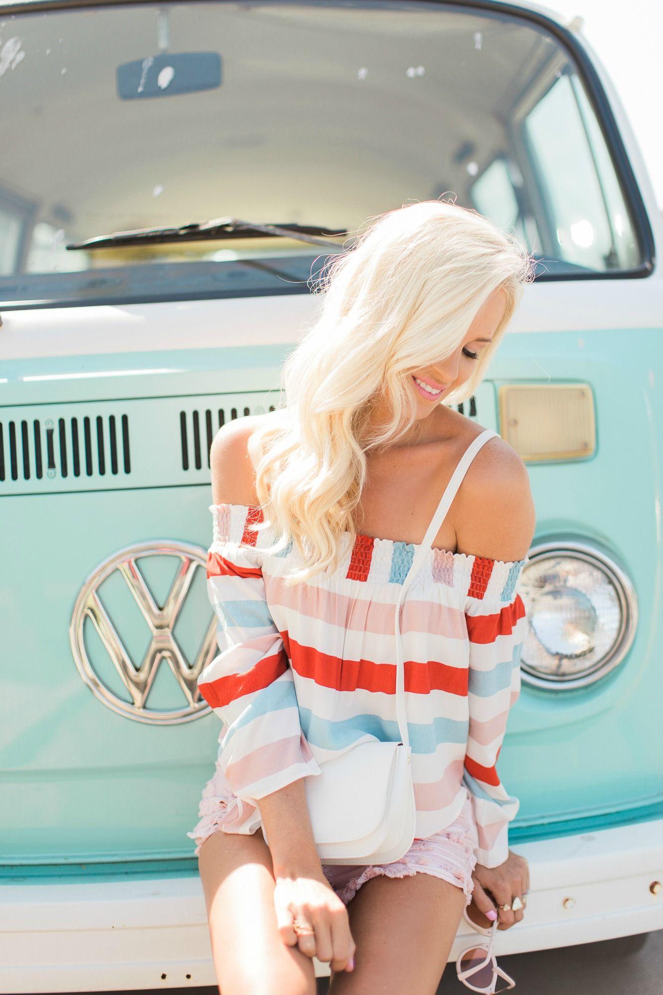 lovers friends stripped top blush denim shorts  style mckenna bleu autos