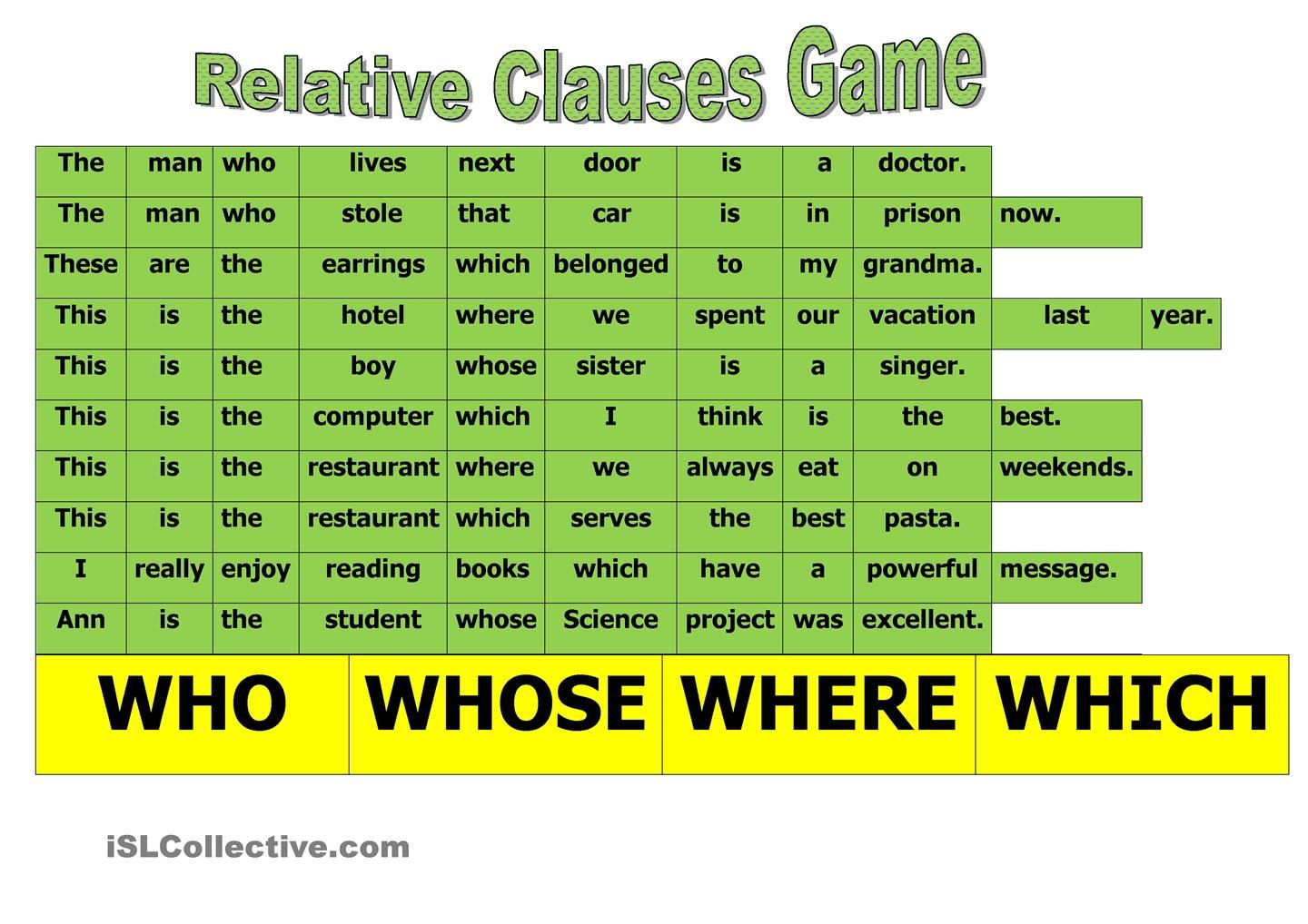 Relative Clause Game Con Imagenes