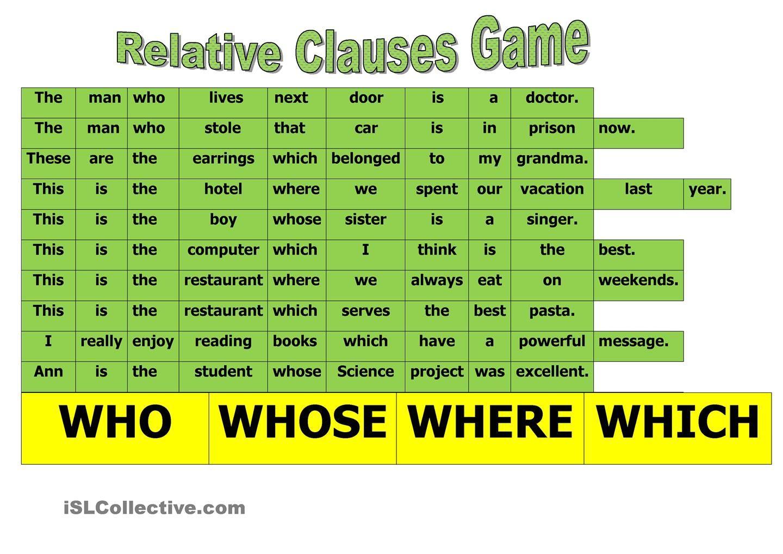 Relative Clause Game Con Imagenes