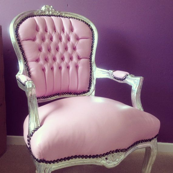 Pink Leather French Shabby Chic Silver Louis Armchair Salon ...