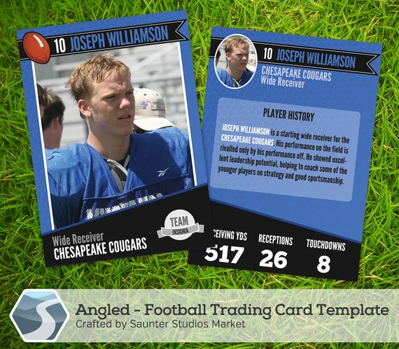 Angled Football Trading Card 2 5 X 3 5 Etsy Trading Card Template Baseball Card Template Baseball Trading Cards