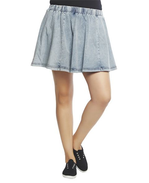 """Super sweet skater skirt with an acid washed french terry knit body, wide elasticized waist band, and a pull on construction.    Model is 5'9"""" and wears a 1X      96% Cotton / 4% Polyester  Machine Wash  Imported"""