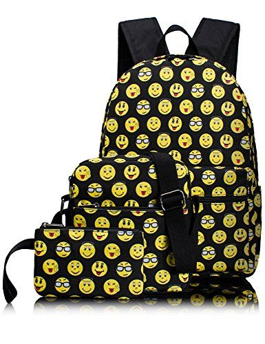 68a7941237a4 Leaper Cute Emoji Kids Backpack School Bag Shoulder Bag Pencil Cases 3 PCS    Want to know more