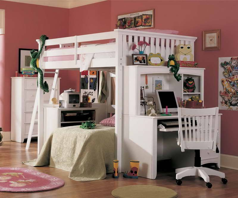 Queen Size Loft Bed With Curtains On Top And Living Room On Bottom