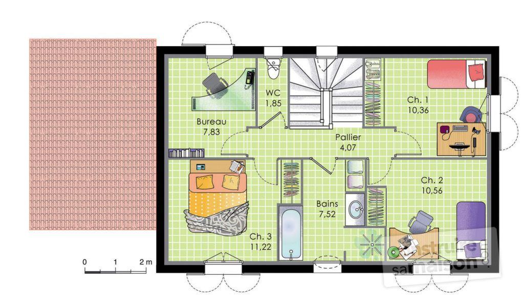 Maison traditionnelle et moderne - plan maison 110m2 etage