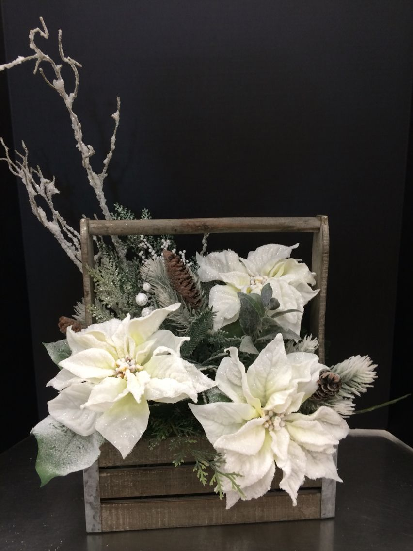 Snowy White Poinsettia Arrangement By Andrea Christmas Flower Arrangements Christmas Floral Arrangements Christmas Flowers