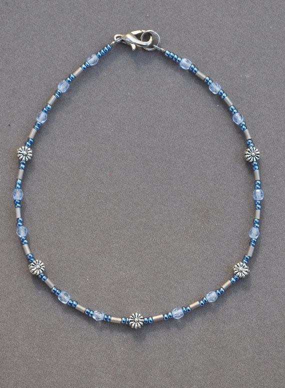 Jewelry - Anklets - Blue and Gray Flower Anklet by JewelryArtByGail on Etsy