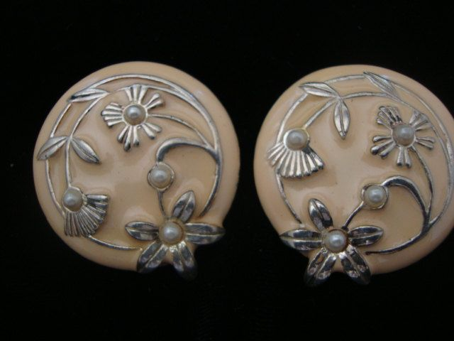 Art Nouveau Enamel and Pearl Floral Earrings. $8.00, via Etsy.