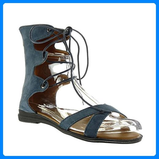 Angkorly Damen Schuhe Sandalen - Römersandalen - Sexy - Bestickt - Multi-Zaum Blockabsatz 2 cm - Blau 2015-903 T 36 ezpP9In
