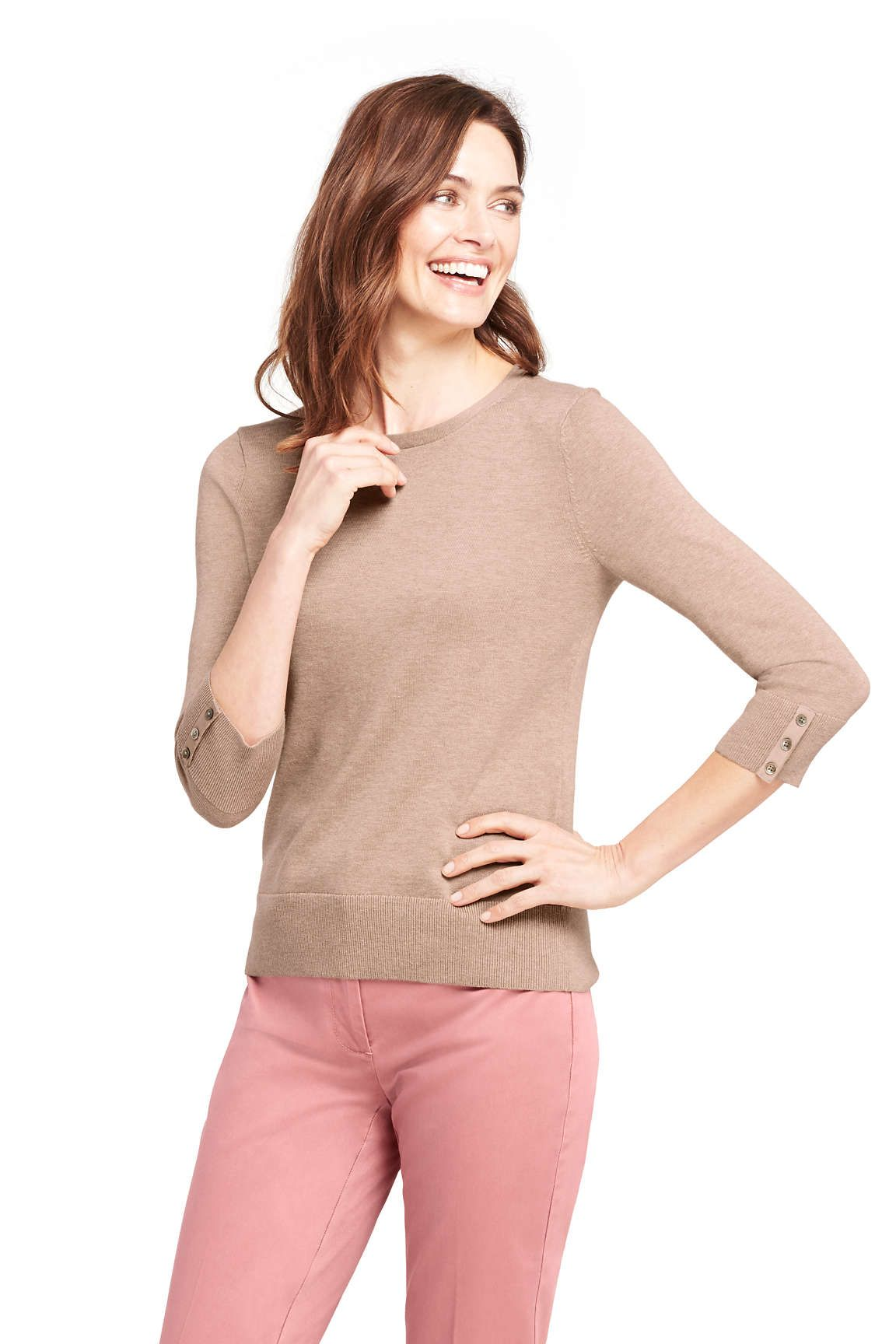 aa450a34eb6 Women's Supima Cotton 3/4 Sleeve Sweater from Lands' End | Fashion ...
