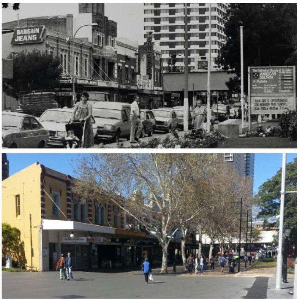 Church St, Parramatta looking south towards the railway c1982 and 2015. [c1982-Parramatta Heritage Centre>2015-Allan Hawley]