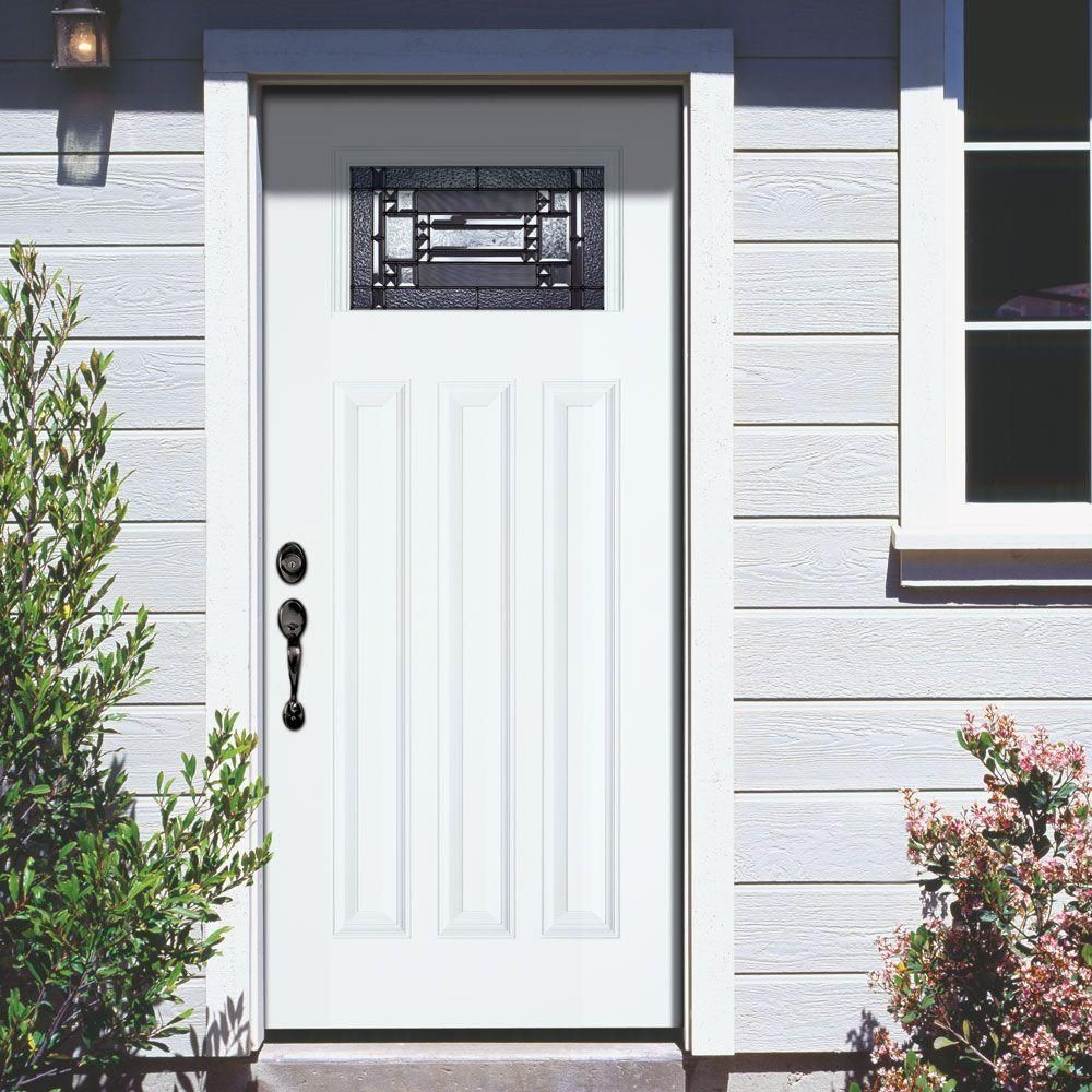 Feather River Doors 37.5 in. x 81.625 in. Preston Patina Craftsman Unfinished Smooth Left-Hand Inswing Fiberglass Prehung Front Door & Feather River Doors 37.5 in. x 81.625 in. Preston Patina Craftsman ... pezcame.com