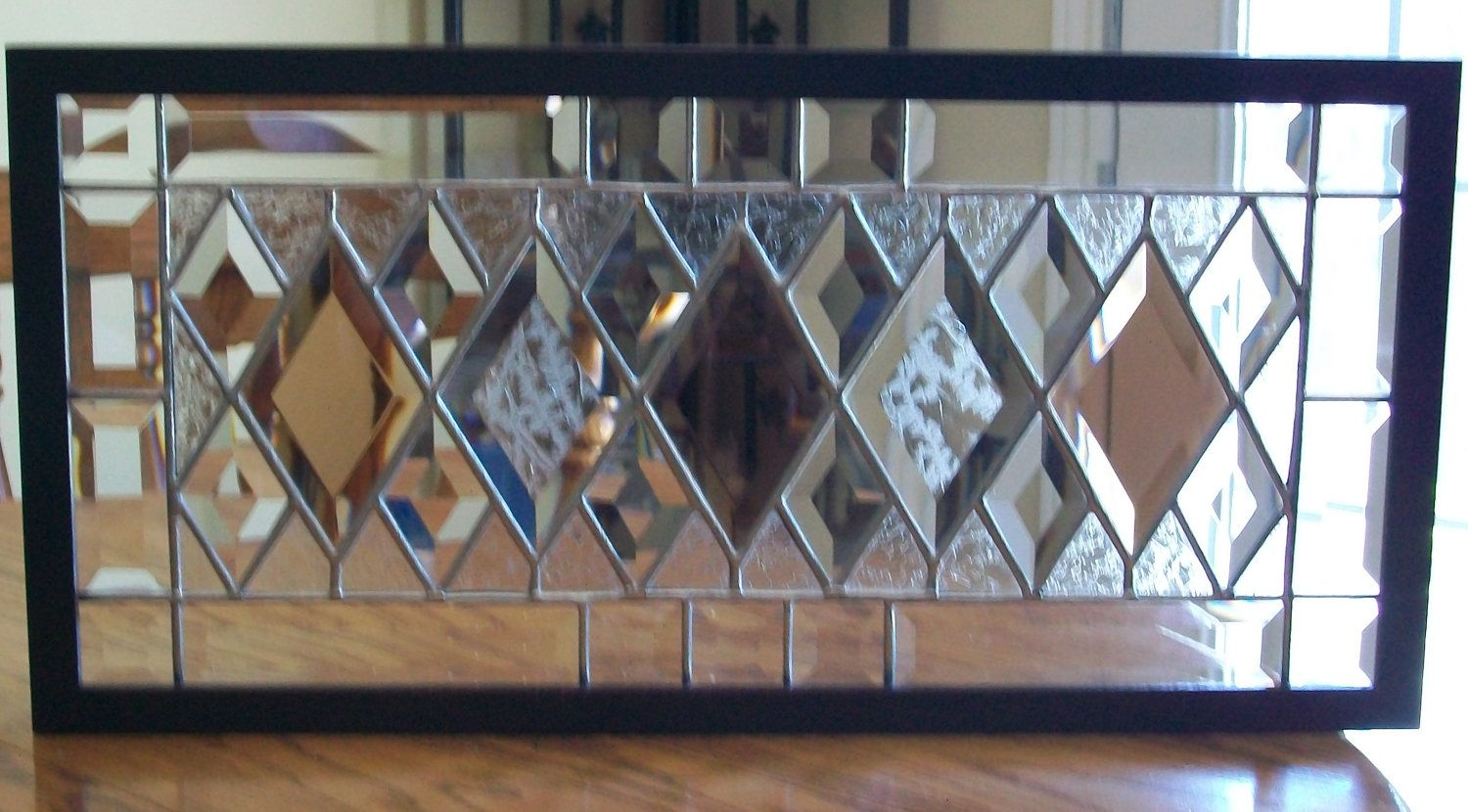 Beveled Stained Glass Panel - framed - trying to find a design to use as a transom window