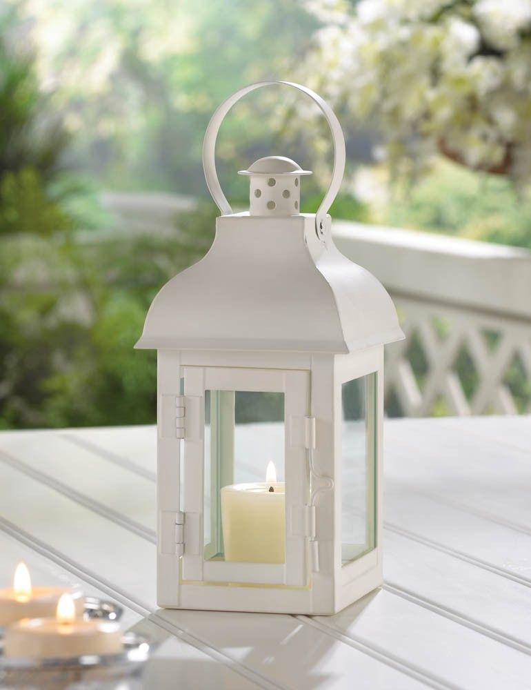 This Candle Lanterns Small Stature Packs In A Lot Of Great Style The Metal Framework Is Coate Lantern Candle Centerpieces White Candle Lanterns White Lanterns