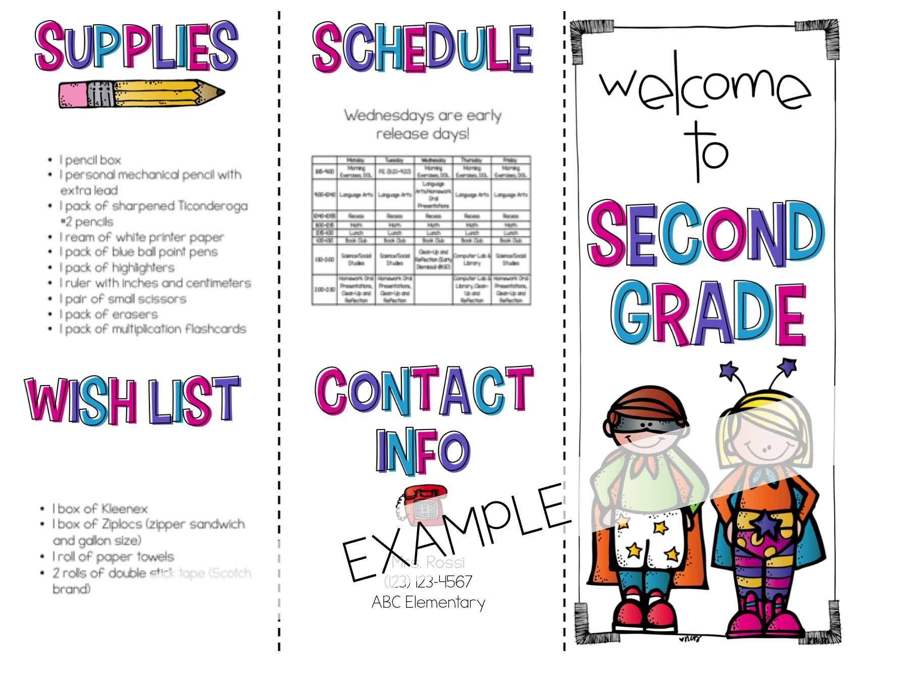 Back To School Brochure Superhero Themed Editable