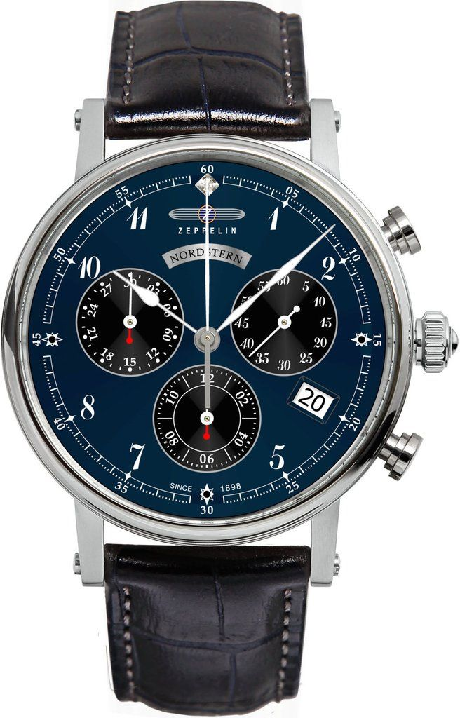 Zeppelin Watch Nordstern #bezel-fixed #bracelet-strap-leather #brand-zeppelin #case-material-steel #case-width-36mm #chronograph-yes #classic #date-yes #delivery-timescale-call-us #dial-colour-blue #gender-mens #movement-quartz-battery #official-stockist-for-zeppelin-watches #packaging-zeppelin-watch-packaging #style-dress #subcat-nordstern #supplier-model-no-7577-3 #warranty-zeppelin-official-2-year-guarantee #water-resistant-50m
